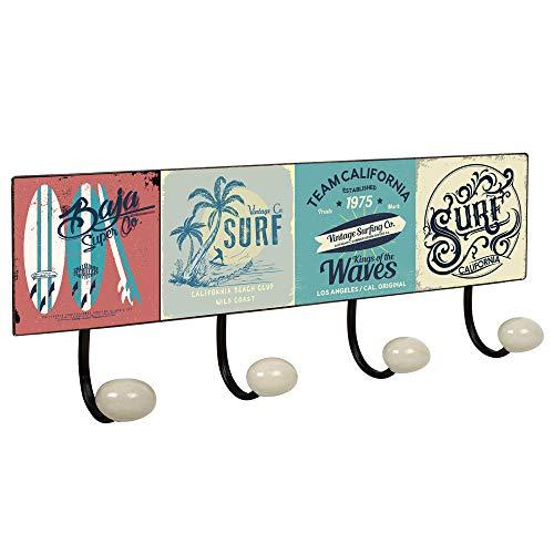Lashuma 4er Hakenleiste Design Surfen, Nostalgie Kleiderhaken für Jacken - Mäntel, USA Blechschild Wandgarderobe 40 x 15,5 cm