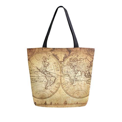 BIGJOKE - Bolsa de lona con diseño de mapamundi vintage, tamaño grande para mujer, casual, bolsa de hombro, reutilizable, para compras, bolsa de almacenamiento portátil para exteriores