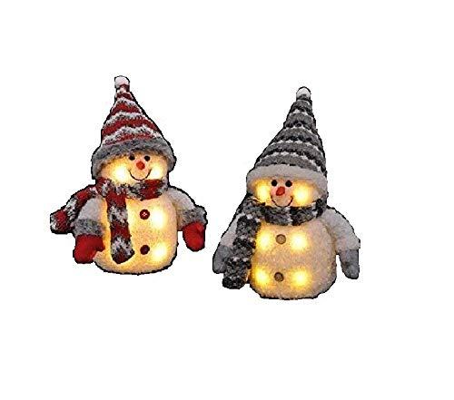2x Schneemann mit LED bunter Schal & Mütze Höhe ca. 20 cm Beleuchtung warmweiß