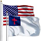 G128 Combo Pack: USA American Flag 3x5 Ft 75D Printed Stars & Christian Flag 3x5 Ft 75D Printed