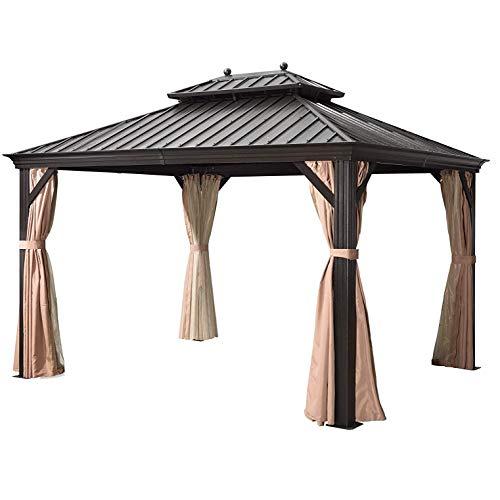 WSN 10' X 12' Outdoor Double Top Permanente Gazebo, Zincato Telaio in Acciaio Hardtop Canopy Tende in Alluminio Patio Giardino Gazebo con Il reticolato