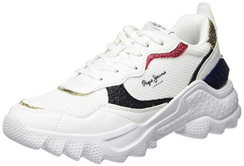 Pepe Jeans Eccles CLEX, Zapatillas para Mujer, Blanco (White 800), 38 EU
