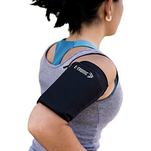 E Tronic Edge Handytasche - Laufen, Joggen, Running - Elastisches Laufarmband für Handy-Modelle jeder Größe - Hoher Schwarz - X-Large