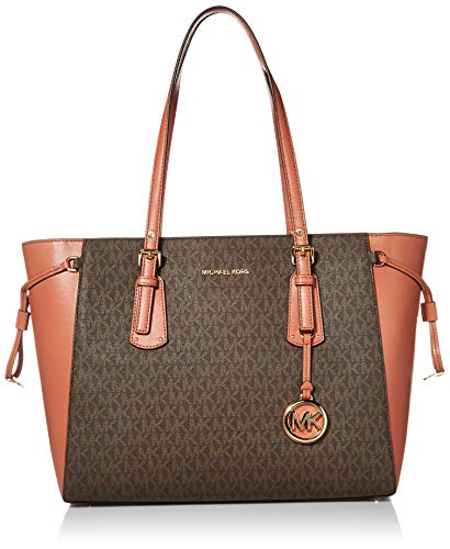 Made of Leather; Top zip closure; 1 center Large zip pocket divides the bag in 2 large compartment; 1 zip pocket; 2 inside open pockets and key fob 2 side pockets; MK silver logo charm; Double dual buckle Adjustable Leather shoulder strap with 8-10 I...