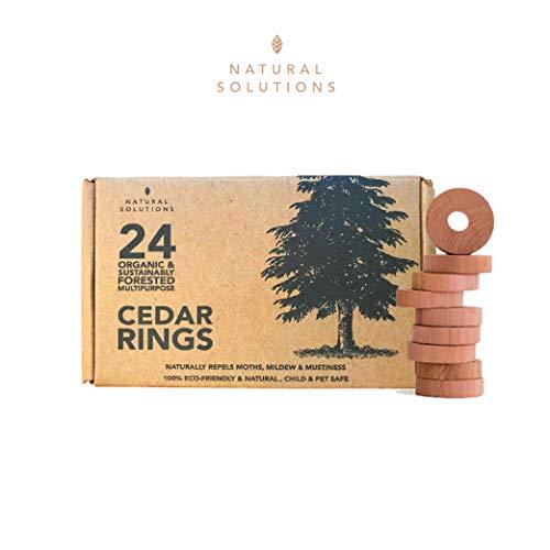 Natural Solutions - 24 Stück Premium 100% natürliche Zedernringe Mottenabwehr + Mottenkugeln für Kleiderschrank & Schublade, aromatisches Zedernholz Block Aufbewahrungszubehör ...