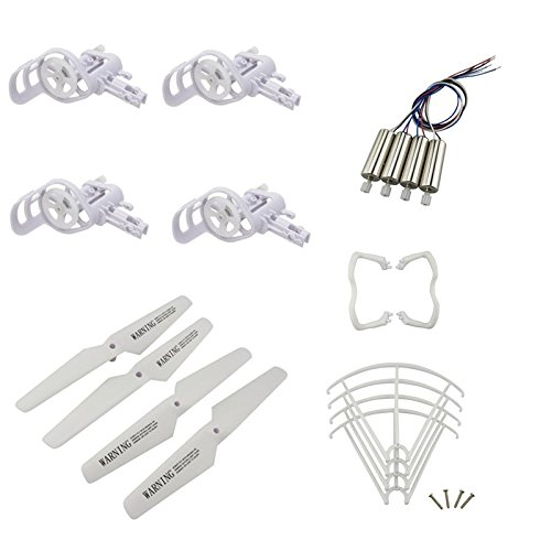 Upgraded Spare Parts for Syma X5 X5C X5C-1 RC Mini Quadcopter Drone Motors Main Blade Propellers Motor Base Propeller Protectors Blades Frame Landing Skid Included Mounting Screws Set White