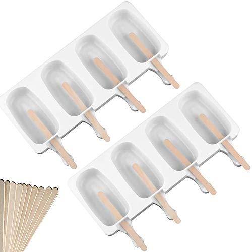 Xnuoyo 2er Pack Silikon Eisform Set Classic Oval 4 Hohlräume, DIY hausgemachte Dessert Gefrierschrank Fruchtsaft Ice Pop Maker Form, Antihaft EIS am Stiel Formen, mit 40 Stück Holzstäbchen