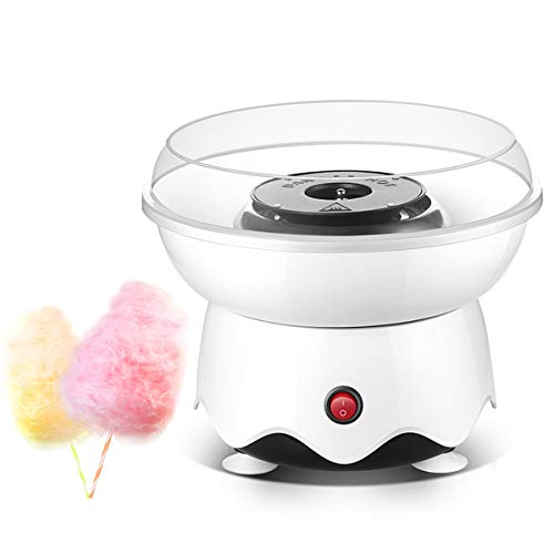 Cotton Candy Machine, Homemade Cotton Candy Maker for Birthday Family Party Christmas Gift,Mini Candy Floss Machine with 10 Cones and Sugar Scoop (White)