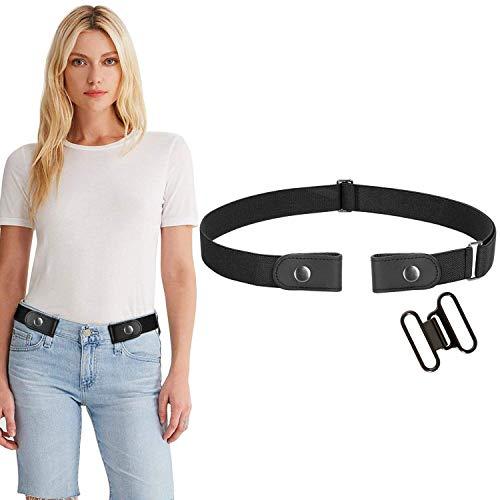 WERFORU No Buckle Women Men Stretch Belt Elastic Waist Belt for Jeans Pants Dresses, Black, Pants Size 24-34 Inches