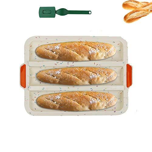HOTOOLME Baguette Backform Silikon antihaft Baguette-Backblech für 3 Baguettes 34,5 x 24,5cm - mit Bäckermesser (Beige)
