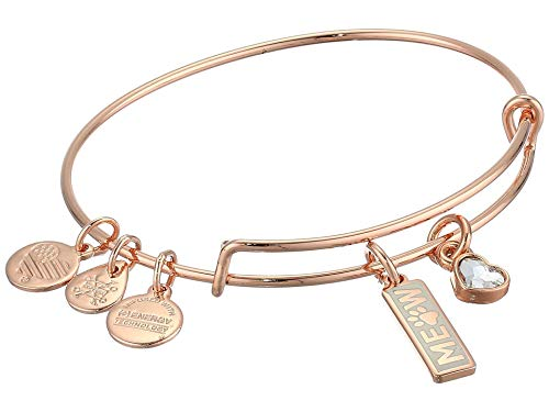 Alex and Ani Duo Charm Meow and Woof Bangle Bracelet Meow One Size, Shiny Rose Gold (A20EBVDAY23SR)