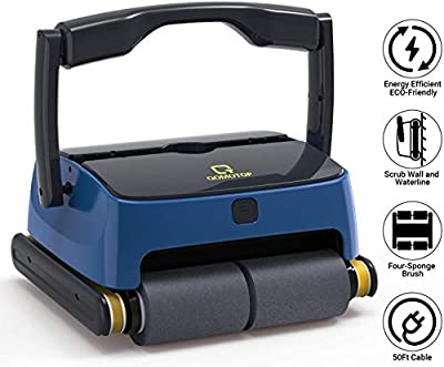 QOMOTOP Automatic Robotic Pool Cleaners, Automatic Wall-Climbing Swimming Pool Cleaner, with 4 Powerful Scrubbing Brushes for Waterline and 2 Large Filter Baskets, Ideal for Above/In- ground Swimming
