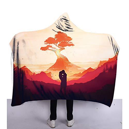 Couverture à capuchon, couvertures de cape en peluche cape douce pour enfant en hiver imprimées en 3D et adaptées à la lecture en train de jouer à l'étude regarder la télévision sur un lit,B,150x200cm