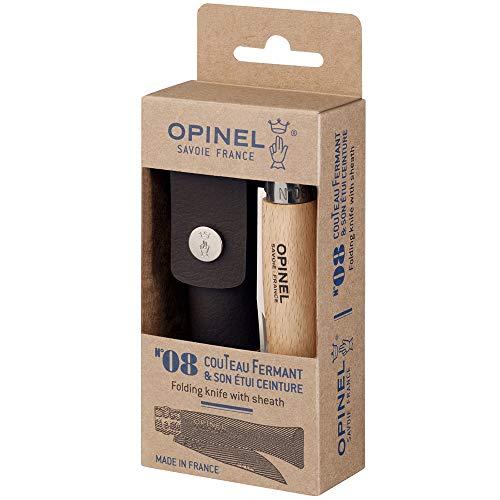 OPINEL - N°08 Inox et Étui Alpine - Couteau Pliant de Poche OPINEL Bois - Couteau de Poche Lame Yatagan en Acier Inoxydable - Lame Inox 8,5 cm et Manche en Bois de Hêtre