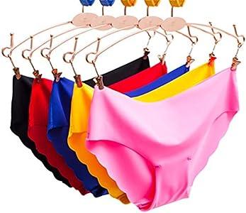 Egurs 5 pz. Ropa Interior sin Costuras Sexy para Mujer Lazo Ondulado de Alto elástico Lazo Apretado con Ajuste bajo de algodón Briefs Tanga Invisible (L=M European Size)