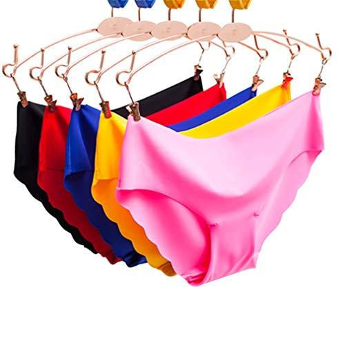 Egurs 5 pcs Bragas Ropa Interior sin Costuras Sexy para Mujer Lazo Ondulado de Alto elástico Lazo Apretado con Ajuste bajo de algodón Briefs Tanga Invisible