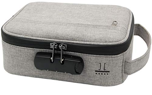 Smell Proof Bag w/Combination Lock Box – 8 Layer Stash Box for Continuous Absorption of Odors – 4 Removable & Changeable Partitions – Discreet Travel Storage for Medical/Recreational (Gray)
