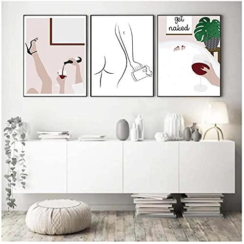 20x30cm x3 Piezas SIN Marco Cerveza Mujer Una línea Art Print Canvas Poster Vino Tinto Mujer Bañera Burbujas Imagen Pintura de Pared para Sala de Estar Decoración del hogar