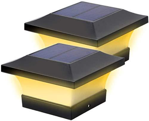 Solar LED Post Lights Outdoor Garden Waterproof Square Black Landscape Post Cap Lamp for 4x4 Wooden Posts, Deck, Patio, Fence (Warm White 3000K, 2 pcs)