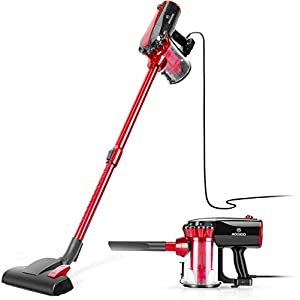 MooSoo Vacuum Cleaner, 17000Pa Stick Corded Lightweight Vacuum with 600W Motor, Telescopic Metal Tube, 5m Power Cord, D600