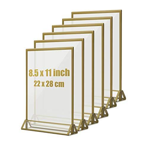 Hengu Thekenaufsteller, Goldenes Seitenklares Acryl Werbeaufsteller T-Aufsteller Tischaufsteller für Hochzeitsparty - 6 Stück (8,5 x 11 zoll/22 x 28 cm), Nicht für A4