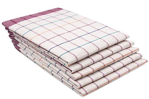 ZOLLNER 5 Trapos de Cocina de algodón, a Cuadros rojizos y de Colores, 50x70 cm