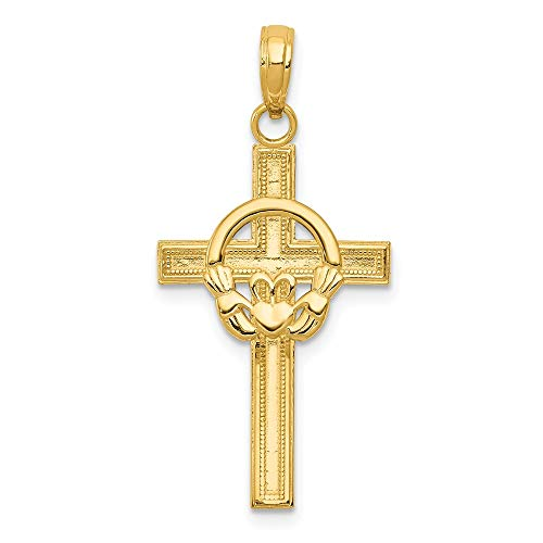 Solid 14k Yellow Gold Celtic Irish Claddagh Cross Pendant Charm - 32mm x 16mm