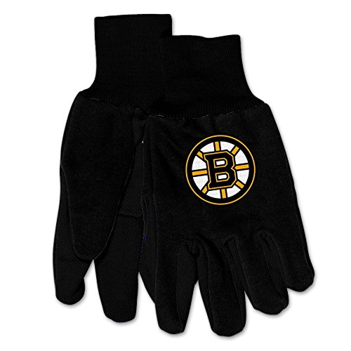 NHL Boston Bruins Mechanischer Gartenhandschuh Arbeitshandschuh mit 3D-Logo, Black on Black