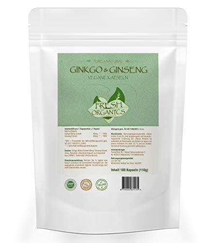 Ginkgo Biloba Ginseng Mix | 180 Kapseln (vegan) | Koreanischer Ginseng | Konzentration + Potenz + Sex + Vitalität | Premium Qualität zum Fairen Preis