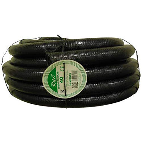 Tubo corrugado 40mm 25m【REFORZADO DE DOBLE CAPA】•【IGNIFUGO】No propagador de llamas • Tubos corrugados flexibles para cables electricidad • 25 metros • PVC de Calidad