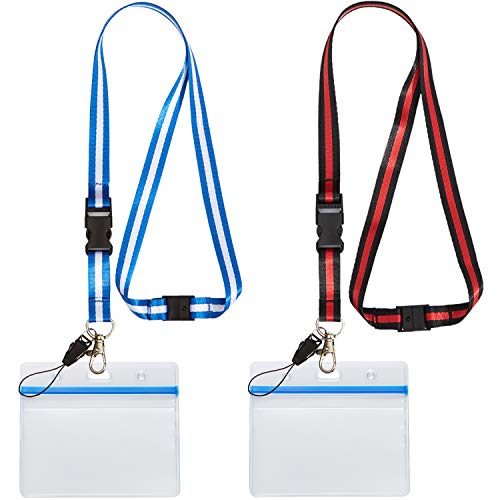 YOUOWO id Badge Holder with Lanyard Strap Neck Strings Metal Clips Blue Black Safety Breakaway Lanyards with Badges Holders Horizontal Nametag Zipper Waterproof Resealable Clear Plastic Card Holder