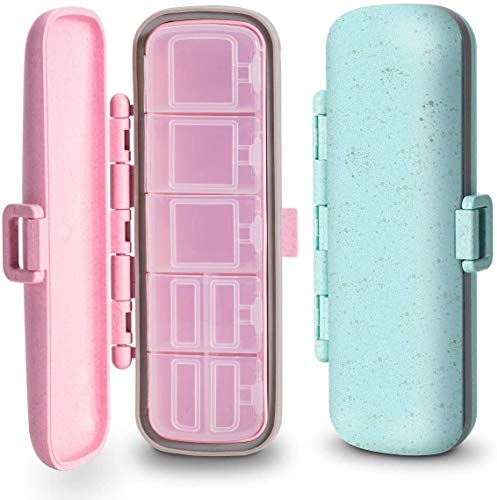 2 Pack Travel Pill Organizer Waterproof, 7 Compartment Pill Case for Pocket or Purse, Small Pill Box for Vitamins, Fish Oil or Medicines