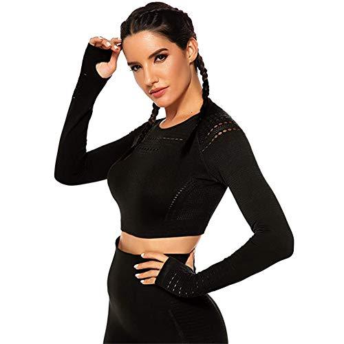 SotRong Damen-Shirt, modisch, mit Lochmuster, für Workout, Fitness-Studio, langärmliges Yoga-T-Shirt, sportliches Outfit Gr. Asiatisch Large, Schwarz