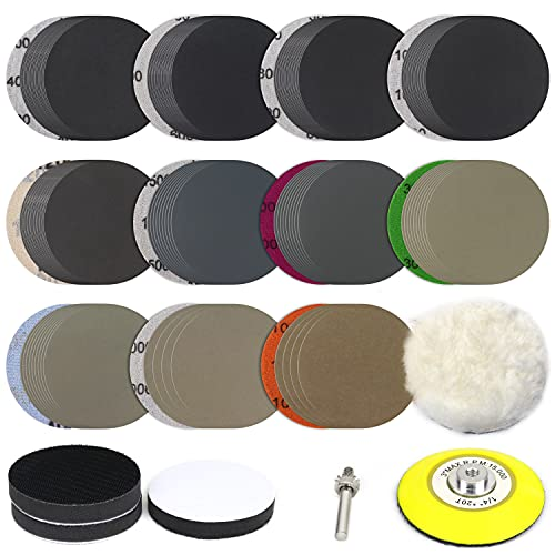 POLIWELL 150 PCS 3 Inch Sanding Discs Silicon Carbide 400-10000 Grits Wet/Dry Hook and Loop Sandpaper for Drill Grinder Rotary Tools with 1/4 in Backing Pad, Wool Pad and 3pcs Soft Foam Pads