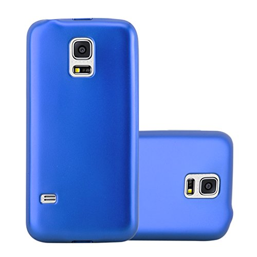 Cadorabo Hülle für Samsung Galaxy S5 Mini / S5 Mini DUOS in METALLIC BLAU - Handyhülle aus flexiblem TPU Silikon - Silikonhülle Schutzhülle Ultra Slim Soft Back Cover Hülle Bumper