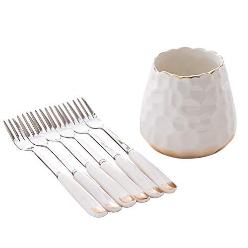 MJTP Simple y Elegante cerámica Creativa de Acero Inoxidable hogar Lindo Juego de Tenedor de Postre de Frutas de Moda, una Base +6 Tenedor o 6 cucharas