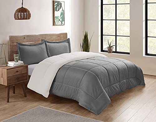 Swift Home Collection Ultra-Plush Reversible Micromink and Sherpa 3-Piece Down Alternative Comforter with Pillow Shams, Luxury Bedding Set, Hypoallergenic, Pewter,...
