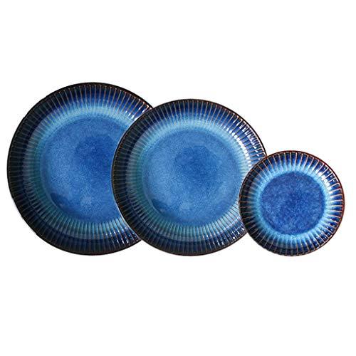 XBR Juegos de vajilla, Platos de cerámica, 12 Piezas de Plato de Pasta de Porcelana Gourmet Profesional Azul Ojo de Gato y Plato Hondo - Plato de Sopa para Servir a Rayas para Restaurante