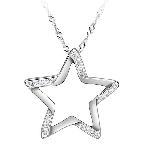 GemsChest Sterling Silver Cubic Zirconia Crescent Moon Star Pendant Necklace 18