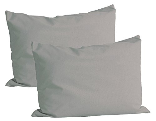 Beties Basic Lot de 2 taies d'oreiller d'env.-40 x 60 cm 100 % coton Plusieurs couleurs vives unies, 100 % coton, gris, 40 x 60 cm