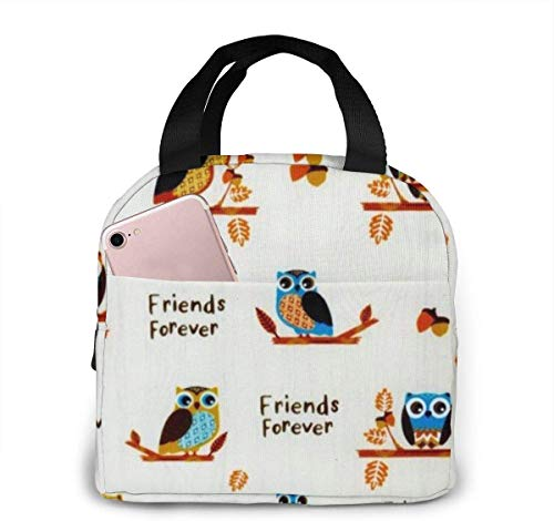 Lunchpaket, Isolierte Lunchbox, Thanksgiving Owls Harvest Fabric Portable Insulated Lunch Bags Handtaschen - School Work Travel