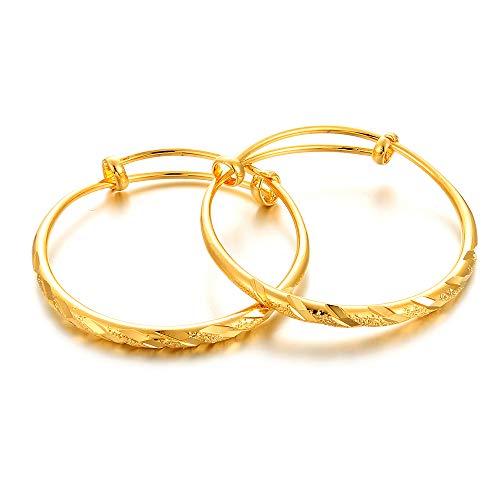 2pcs/lot 18K Gold Plated Baby Children Bangles Bracelet Christmas Birthday Present