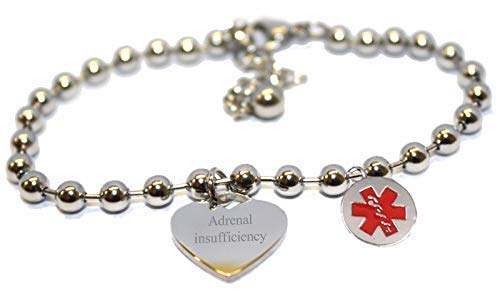 Luxury Engraved Gifts UK Adrenal Insufficiency Womens Medic Alert Medical Steel Heart Bracelet - aa134