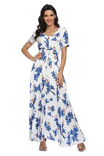 VintageClothing Women's Floral Print Maxi Dresses Boho Button Up Split Beach Party Dress, 2XL