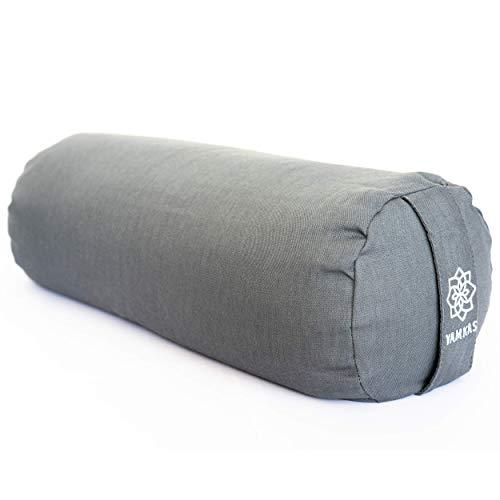 Yamkas Bolster Yoga Rodillo para Yin Yoga - de Cascos de Trigo Sarraceno Orgánico - Cubierta en Algodon Lavable- Cojin Rodilla - Rulo Pilates o Yoga Bolster - 60 x 22 cm - Gris