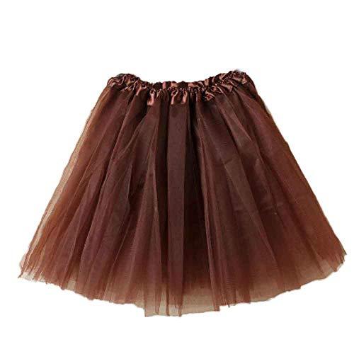 WOZOW Damenrock Tüllrock Einfarbig Kurz Freizeit Multi-Schichten Garn Tanzkleid Unterkleid Crinoline Petticoat Karneval Kostüm Frauen (50-110,Kaffee)