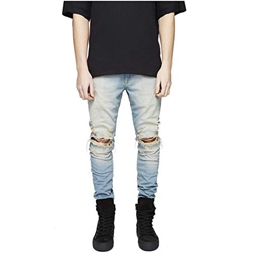 Huntrly Jeans para Hombres Personalidad Europea y Americana Ripped Stretch Slim-fit Jeans Trendy Casual Jeans 38