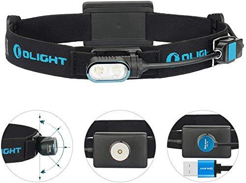 OLIGHT Array Stirnlampe USB Wiederaufladbar LED Kopflampe Stirnlampe 400 Lumen,Taschenlampe mit 80m Leuchtweite, 4 Leuchtstufen, 180° Verstellbar, Wasserdichte Stirnleuchte, für Joggen, Laufen