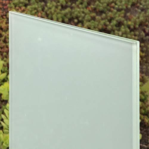 VSG Verbundsicherheitsglas matt, 8mm + 0,76mm Folie, mattweiß. Zuschnitt nach Maß bis 120 x 220 cm (1200 x 2200 mm), Kanten geschliffen und poliert, Ecken gestoßen.