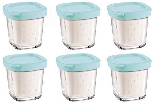 Seb XF100001 - Conjunto de 6 ollas cubierta azul yogur vidrio con escurridor